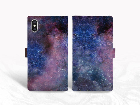 Galaxy Sky PU Leather Wallet Cover Flip Case for iPhone X, iPhone 8 Plus, Samsung S8, S9 Plus, Note 9, Google Pixel 2, LG G7, Nexus 5X -X33