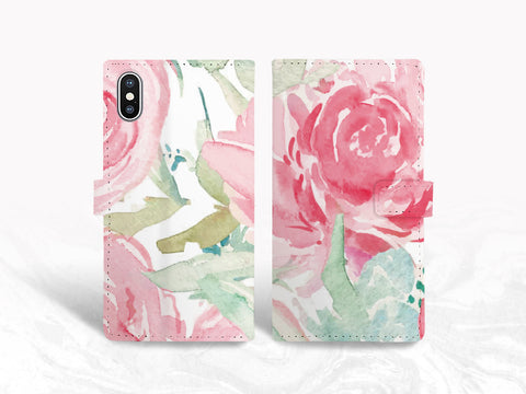 Pink Floral PU Leather Wallet Cover Flip Case for iPhone 11 Pro, iPhone X, Samsung S10 Plus, note 20, Google pixel 4a, nexus 5X, OnePlus 6, LG G7