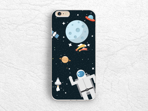 Cute Astronaut Planet Space phone case for iPhone 8 Plus, iPhone X, LG G6, Nexus 5x, Nexus 6P, Samsung S8 Plus, HTC One M9, Google Pixel 2 -P91