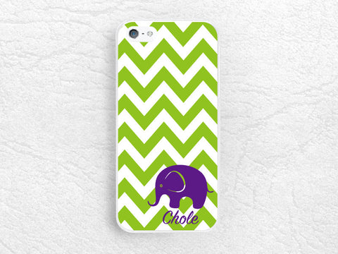 Personalized Custom name Phone Case for iPhone 6 iPhone 5 5s 5c, LG G3 G2 Nexus 5, Monogram Chevron elephant phone case for Htc one m7 m8