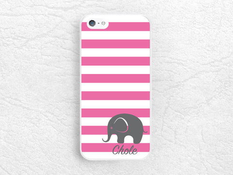 Custom name Phone Case for iPhone, Sony z1 z3 compact, LG G3 G2 Nexus 5, Striped Monogram Case elephant Phone Cover with personalized name