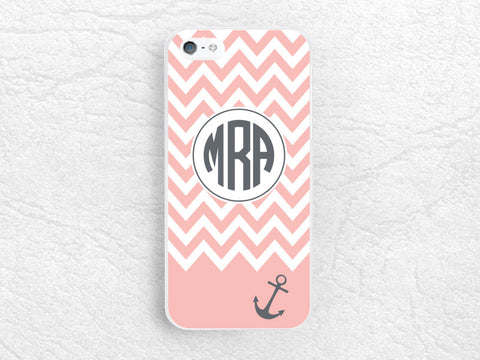 Anchor Chevron Monogram Phone Case for iPhone 6, iPhone 5 5s 5c, Sony z1 z3 compact, LG G3 nexus 5, HTC One M9 Monogrammed Case with personalized name