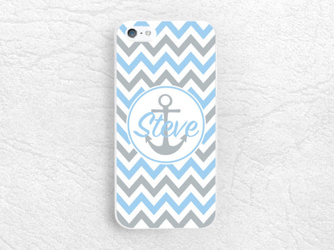Anchor Chevron Monogram Phone Case for iPhone 6, iPhone 5 5s, Sony z1 z2 z3 compact, LG g2 g3 nexus 6, HTC One personalized name custom case
