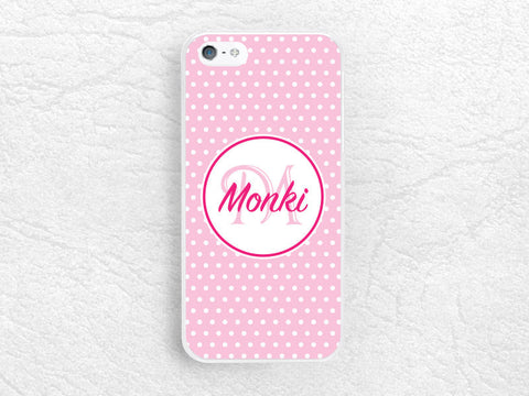 Girly Pink polka dots Monogram phone case for iPhone, Sony z3 compact, LG g3 g2 Nexus 5, Moto X Moto G, custom case with personalized name