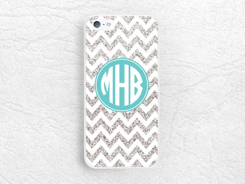 Silver Glitter print Chevron Monogram phone case for iPhone, Sony z1 z3, LG g3 g2 Nexus 5, Moto X Moto G, custom case with personalized name