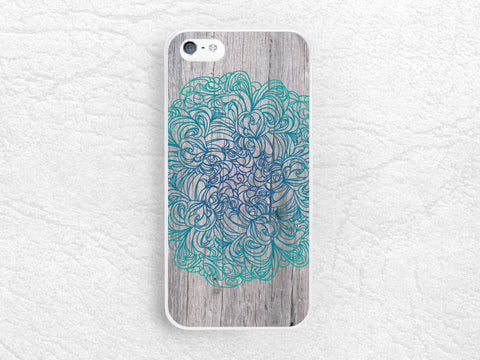 Mint Navy blue floral Wood print Phone Case for iPhone 6 5s, Sony z1 z2 z3, LG g3 g2, Moto g Moto x, HTC one m7 m8, Geometric pattern -G15