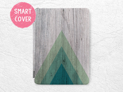Geometric wood print Smart Cover for iPad Air, iPad Air 2, green triangle tablet Smart cover with back case