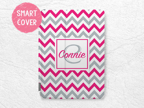 iPad Smart Cover, colorful Chervon Monogram Initial custom name case for iPad Mini, iPad mini 2, iPad Mini 3 personalized case