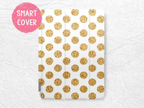 Gold Glitter print Polka dots Smart Cover for iPad Air, iPad Air 2, stylish Smart cover with back case -P6