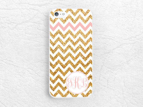 Gold Glitter print chevron Monogram phone case for iPhone Sony z1 z3 compact, LG g2 g3, HTC one m7 m8, Moto x Moto g Personalized name cover