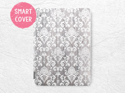 White Damask grey wood print Smart Cover for iPad Mini, iPad mini 2 retina, iPad mini 3, vintage Smart cover with back case -G11