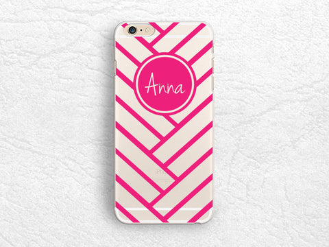 Personalized transparent clear phone case for iPhone 7, Samsung S8 Plus, LG G6, Nexus 5X, Nexus 6P, Sony Xperia XZ, HTC 10, geometric chevron ombre Monogram phone case