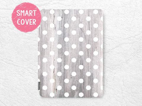 White Polka Dots pattern grey wood print Smart Cover for iPad Air, iPad Air 2, Smart cover with back case -G6