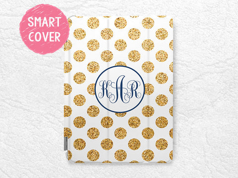Personalized iPad Smart Cover, gold glitter print polka dots Monogram custom name case for iPad Air, iPad Air 2