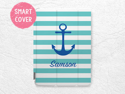 Nautical anchor monogram custom name iPad Smart Cover, personalized striped case for iPad Air, iPad Air 2