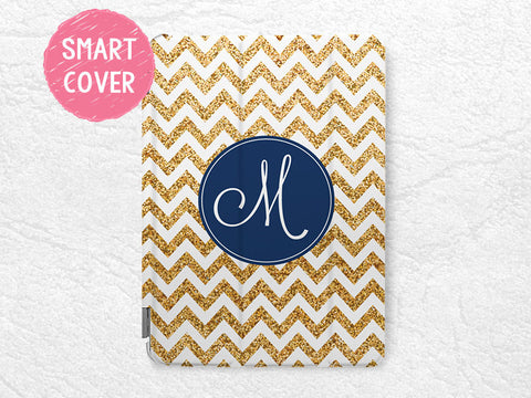 Personalized Smart Cover gold glitter print Chevron Monogram custom initial name case for iPad Air, iPad Air 2