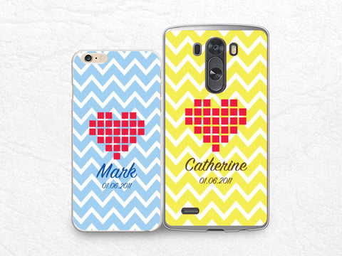 Set for two, Couple case Personalized chevron phone case for iPhone 6, Sony z3 compact, LG g3, HTC one m7 m8, Moto X Moto G, Valentines case