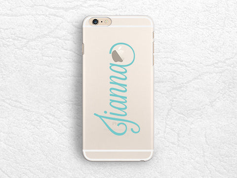 Personalized name transparent phone case for iPhone 7, iPhone 6s plus, LG G6, Sony z5, HTC One M9, Google Pixel XL, Samsung S8 Plus