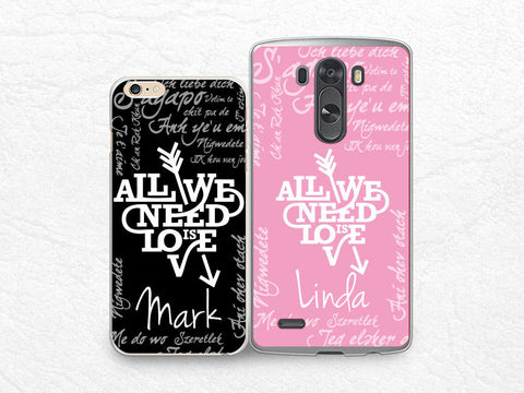 Personalized Couple phone case for iPhone 6 5s, Sony z1 z2 z3 compact, LG g3 g2, HTC one m7 m8, Moto X Moto G, Valentines case, set for two