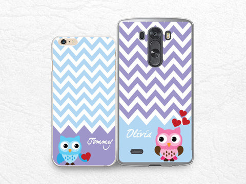 Lovely owls Personalized name Couple phone case for iPhone, Sony z1 z2 z3, LG g3, HTC one m7 m8, Moto X Moto G, Valentines case, set for two