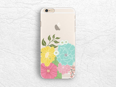 Floral flower Clear transparent phone case for iPhone 7, Google Pixel, Nexus 6P, HTC one M9, LG G6, Nexus 5X, Samsung S8 Plus -P14