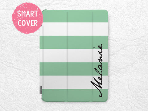 Mint Striped iPad Smart Cover, Personalized monogram iPad case for iPad mini, iPad mini 2 retina, iPad mini 3, custom made with your name