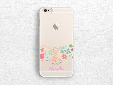 Floral flower Personalized name transparent phone case for iPhone 6S, iPhone 7, LG G6, Google Pixel, HTC One M9, Samsung S8 Monogrammed cover