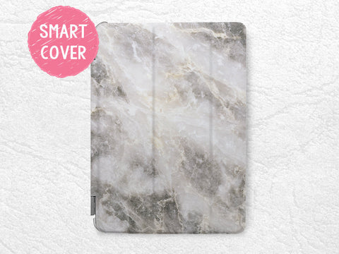 Gray Marble print stylish Smart Cover for iPad Air, iPad Air 2, unique iPad Smart cover with back case -X1