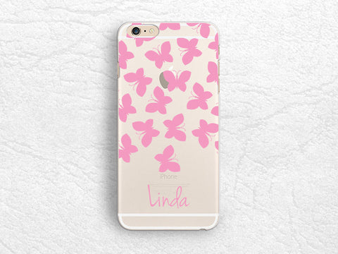 Butterfly Personalized transparent clear phone case for iPhone 7 Plus, LG G6, Google Pixel XL, HTC One m8, Nexus 6P, Samsung S7, S8 Plus