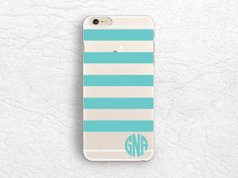 Tiffany blue Striped Personalized transparent clear phone case for iPhone 7 plus, LG G6, Nexus 5X, Google Pixel, Samsung S8, HTC 10, Monogrammed clear phone cover