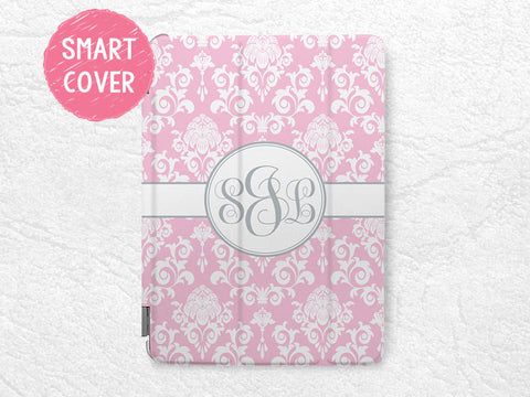 Damask style Personalized iPad Smart Cover, lace pattern Monogram custom name case for iPad Air, iPad Air 2