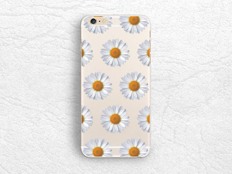 Daisy flower Clear transparent phone case for iPhone 7, iPhone 6s, Nexus 6P, Sony z5 compact, HTC one M9, Samsung S8, Samsung Note 5 floral case -P16
