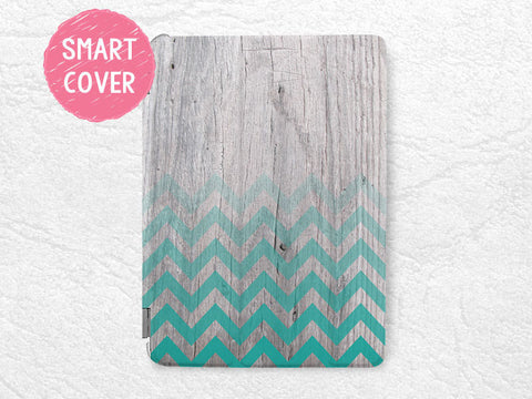 Green Chevron Geometric wood print Smart Cover for iPad Air, iPad Air 2, zigzag Smart cover w/ back case -G19
