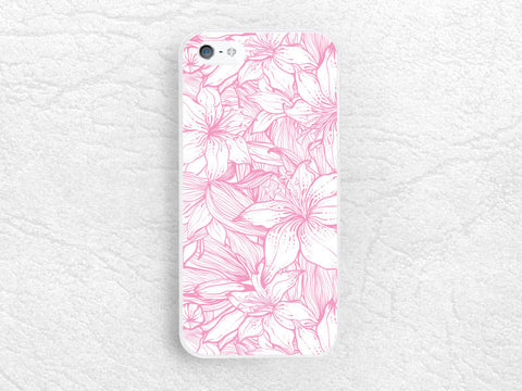 Pink floral flower Phone Case for iPhone 5 5s 6, Sony z1 z2 z3 compact, LG g2 g3, HTC one m7 m8, Moto x Moto g, Nokia lumia phone cover -P18
