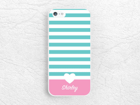 Striped Monogram case for iPhone 6 6 Plus, sony z1 z2 z3 compact, LG g2 g3, Moto x Moto g, HTC one m7 m8 Tiffany blue personalized name case