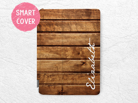 Personalized custom name iPad case, brown wood print for iPad Air, iPad Air 2, custom made with your name