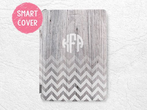 Personalized iPad Smart Cover, Monogram Chevron wood print custom initial name case for iPad mini, iPad mini 2 retina, iPad mini 3