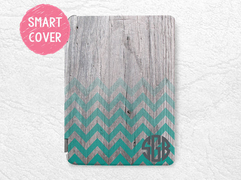 Personalized Monogram Smart Cover, Green Chevron wood print custom initial name case for iPad mini, iPad mini 2 retina, iPad mini 3