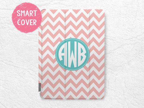 Personalized Peach Chevron Mint Monogram Initial custom name case for iPad Mini, iPad mini 2 retina, iPad mini 3, custom made for iPad mini