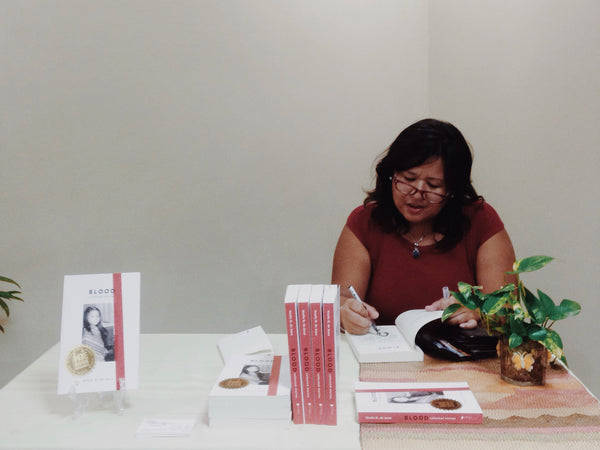 Noelle Q. De Jesus at the launch of Blood Collected Stories in Manila