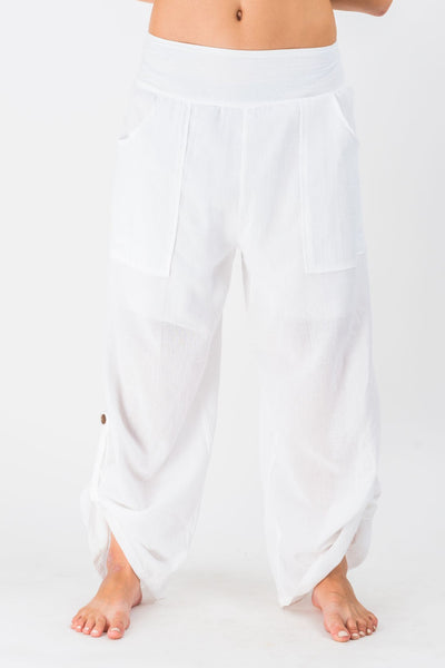 Women S Thai Button Up Cotton Pants In Solid White Harem