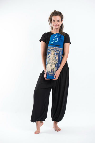 Blue Embroidered Ohm Ganesha Print Cotton Amp Hemp Yoga