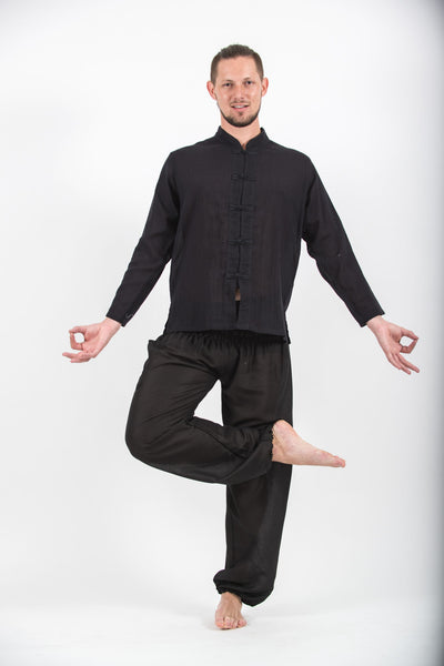 Mens Yoga Shirts Chinese Collared In Black Harem Pants