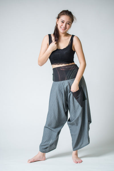 Women S Pinstripe Button Up Cotton Pants With Hill Tribe