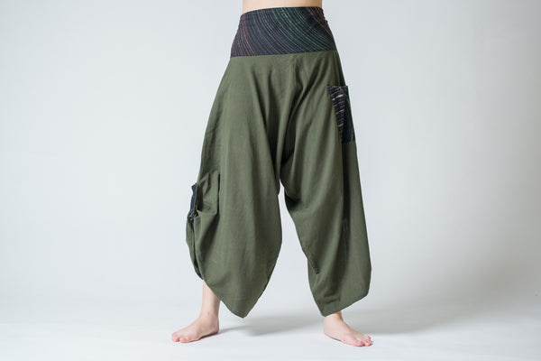 Women S Thai Button Up Cotton Pants With Hill Tribe Trim