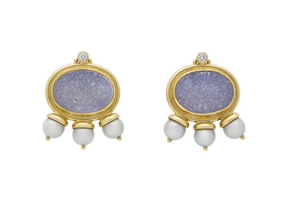 A pair of 18ct yellow gold earrings set with oval slices of drusy chalcedony (16.00cts). At the bottom of each earring are 3 grey cultured pearls. Set at the top is a diamond with a bead on each side (2 stones 0.16cts).