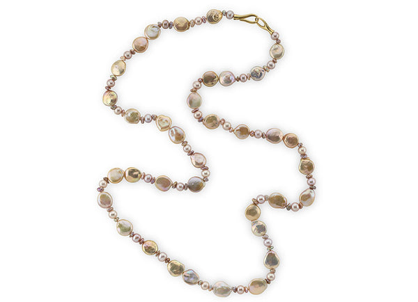Biwa Coin, , Keshi and Pink Fresh Water Pearl Necklace
