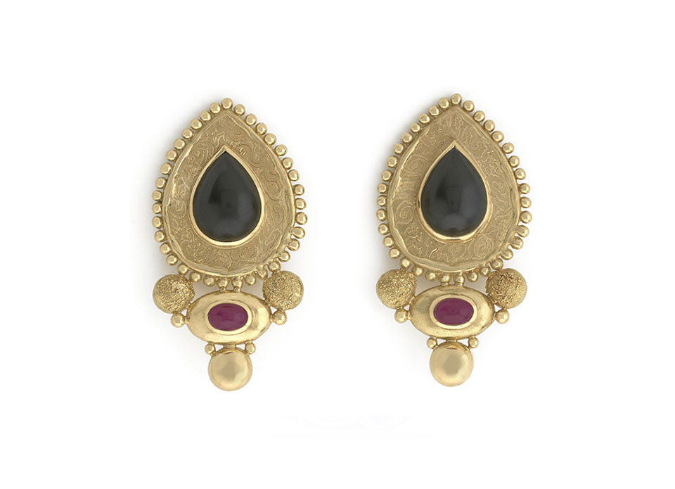 Black Jade and Ruby Earrings