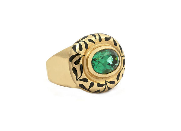 Green Tourmaline Orlov Ring