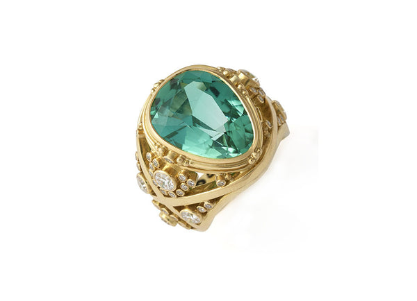 Green-Blue Tourmaline Ring